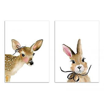 2 Art-Posters - Duo Bunny and Fawn - Mercedes Lopez Charro