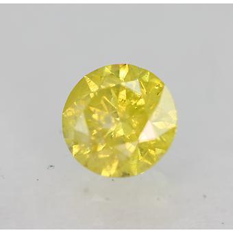 Cert 0.46 Karaat Kanariegeel Ronde Briljant Verbeterde Natuurlijke Diamant 4.85mm