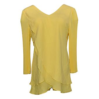 Laurie Felt Women's Top Reversible Pleated Sleeve Blouse Yellow A379346