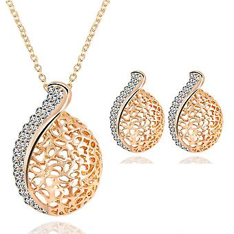 Hollowed-out jewelry set alloy rhinestone necklace earrings women