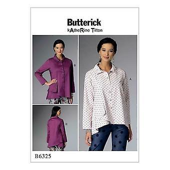 Butterick Ompelu kuvio 6325 Misses Laskostettu kaulus Asymmetrical paidat 4-14 UC