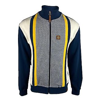 Trojan Houndstooth Panel Track Top TR/8601 - Navy