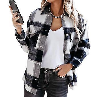 Khaki Plaid Jacket Coat Women Streetwear Long Leeve Thick Wool Shirts Coats
