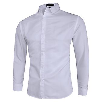 Yunyun Men's Solid Color Business Casual Long-sleeved Shirt