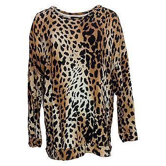 G.I.L.I. Got It Love It Women's Sweater Plus Print Crewneck Brown A384618