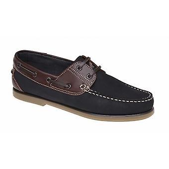 DEK River Mens Nubuck Moccasin Boat Shoes Navy Blue/brown