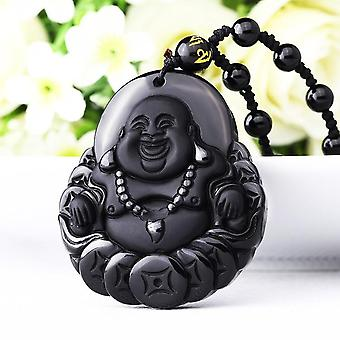 Handwork Natural Obsidian Carved Buddha Of Fortune, Amulet Lucky Pendant,