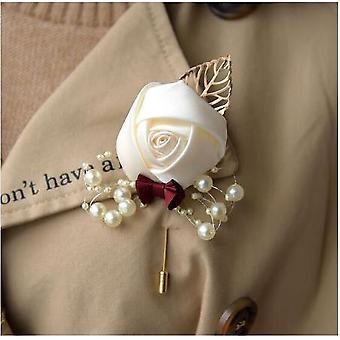 ブライダルブーケ、泡の花、結婚式のためのローズリボン