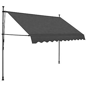 Folding Manual Awning with Handle Crank, Retractable Awning with LED for Patio Garden Outdoor