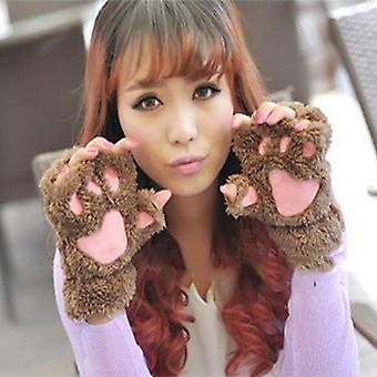 Vinter kvinder dejlige bear kat klo pote vante plys handsker