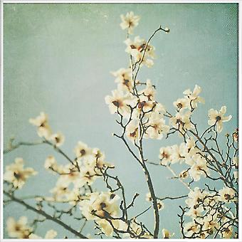 JUNIQE Print -  Mint - Blumen Poster in Blau & Cremeweiß