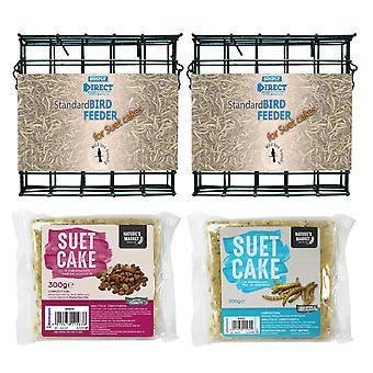 2 x Yksinkertaisesti suora tavallinen suet-kakkulohkon syöttölaite, jossa 1 x maapähkinä ja 1 x mealworm maustettu suet-kakku villi linturehu