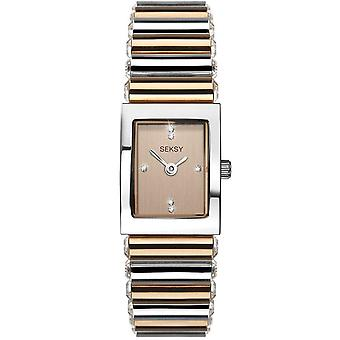 Seksy 2867 Stone Set Two Tone Silver & Rose Gold Stainless Steel Ladies Watch
