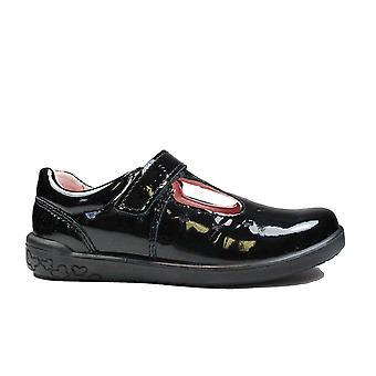 Ricosta Scarlett 626200-093 Black Patent Leather Girls Rip Tape T Bar School Shoes