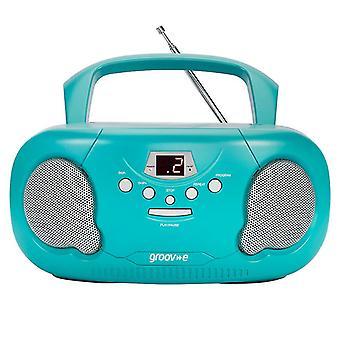 Groov-e GVPS733TL Original Boombox tragbarecd-Player mit Radio Teal UK Stecker