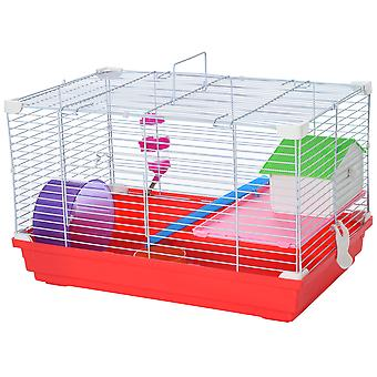 PawHut Portable 2 Storey Hamster Cage Small Pet Animal Cage Double Layers w/ Exercise Wheel Water Bottle Dishes