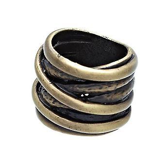 Sehr breite verdrehte Band oxidierte Illusion Ring