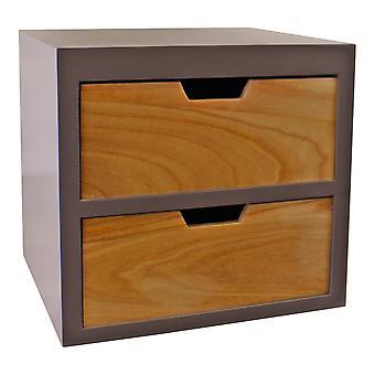 2 låda bröst i grå finish med naturliga lådor med avtagbara ben