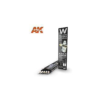AKインタラクティブ - AK10039ウェザリングペンシルセット - ブラック&ホワイト