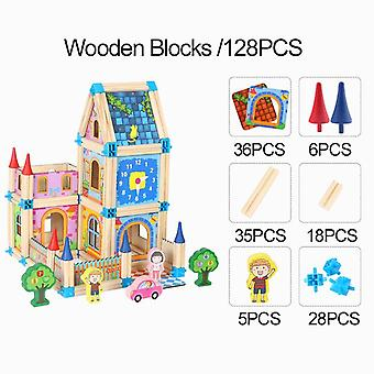 Diy wooden dollhouse kids assemble family dollhouse castle toys with car colorful casa doll houses wood toys for children gifts