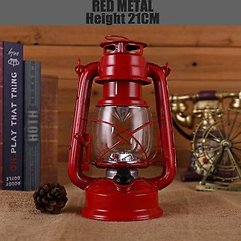 Vintage Camping Laterne Flamme Licht Flicker Batterie LED Tragbare Kerosinlampe  Tragbare Laterne (Rot)