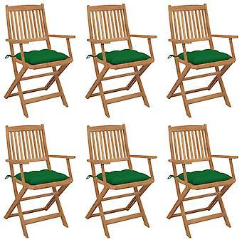 vidaXL Sillas de jardín plegables 6 piezas con acacia de madera maciza cojín