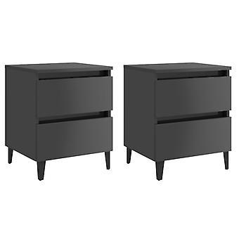 vidaXL yöpöydät 2 kpl. kiiltävä harmaa 40x35x50 cm lastulevy