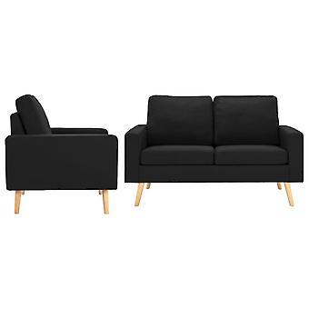 vidaXL 2 pcs. Sofa set fabric black