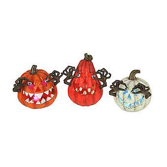 Set of 3 Multicolor LED Jack-o-Lantern Figurine Halloween Lights Pumpkin Decor