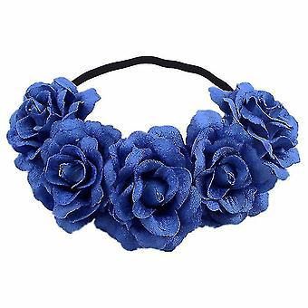 Rose Flower Crown Wedding Festival Opaska na głowę Hair Garland Wedding Headpiece (Niebieski)