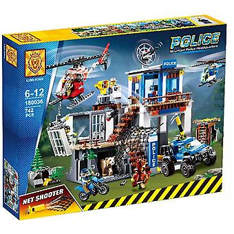 Kompatibel med City Series 180036 Mountain Police Headquarters Base Building Building Building Toy 02097