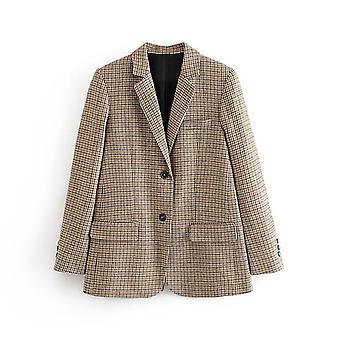 Women Plaid Tweed Skirts Suit Spring Long Sleeve Office Blazer Jacket & Skirt