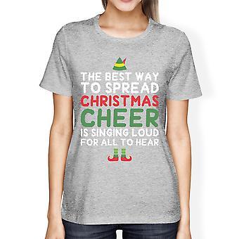 أفضل طريقة لنشر عيد الميلاد يهتف قميص هدية المرأة رمادية العيد