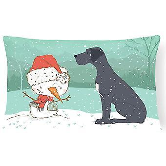 Pillows black great dane and snowman christmas canvas fabric decorative pillow