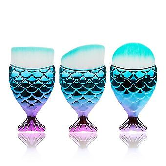 Makeup brushes 3 piece set of professional mermaid makeup brushes style 7