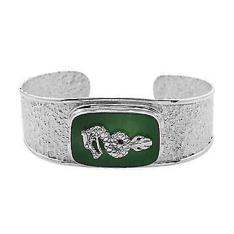Royal Bali Green Jade Dragon Cuff Bangle voor dames in Sterling Silver 7.5 ''