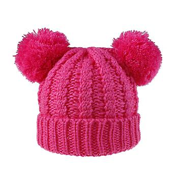 Autumn And Winter Hot Selling Women's Knitted Wool Cap Double Wool Ball Cap Fashion Pullover Double Color Knitted Ball Cap