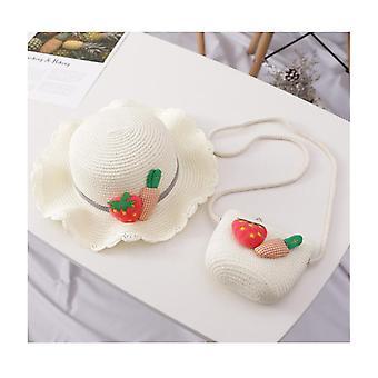 Girls Summer Wide Brim Hat Sun Beach Straw Flower Hats With Shoulder Bag