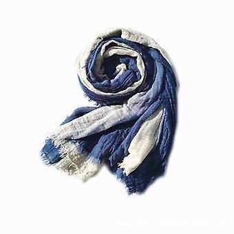 Bomull och linne tie-dye scarf safir