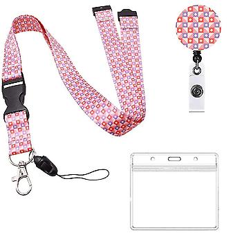 (Pink)Neck Lanyard And Retractable Reel Set Flowered Pattern