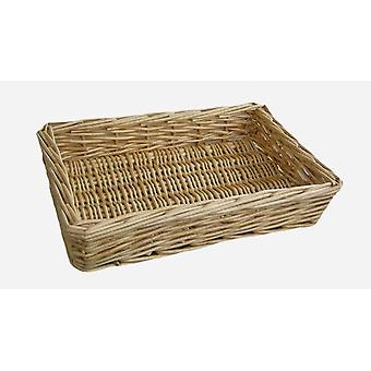 Small Straight Sided Rectangular Wicker Tray