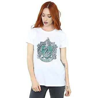 Harry Potter Women's Slytherin Distressed Crest Boyfriend Fit T-Shirt