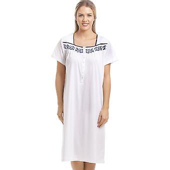 Камиль классический белый ночная рубашка с военно-морского флота цветочный дизайн