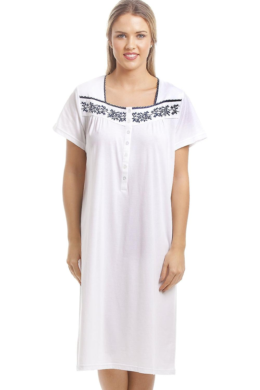 Camille Classic White Nightdress With Navy Floral Design