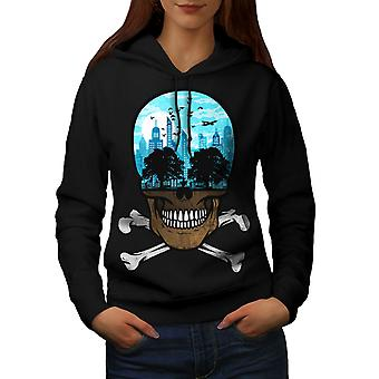 Head City Face Art Skull Women BlackHoodie | Wellcoda