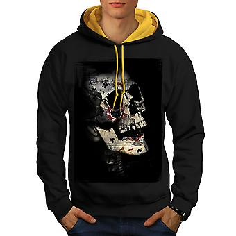 Poker Card Skeleton Men Black (Gold Hood)Contrast Hoodie | Wellcoda