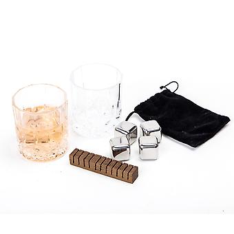 Clydescot SKYE - 9pcs Whiskey Gift Set - 4 Reusable Ice Cubes Stainless Steel Cooling Stones Cool Drinks Without Watering It Down + 2 Old Fashioned Crystal Glass Whisky Tumblers 230ml + Scorched Smoked Oak Whiskey Flavoring Stick + Beautiful Hand Crafted Wooden Gift Box