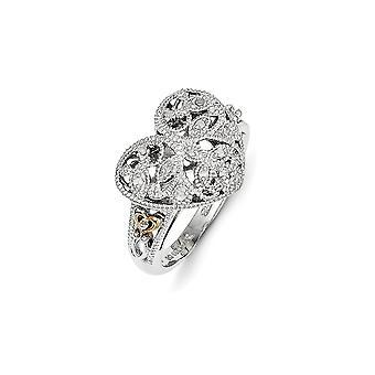 925 sterling silver med 14K 1/20ct diamant Vintage Ring-Ring storlek: 6 till 8