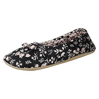 Ladies Spot On Flower Print Slippers X2098