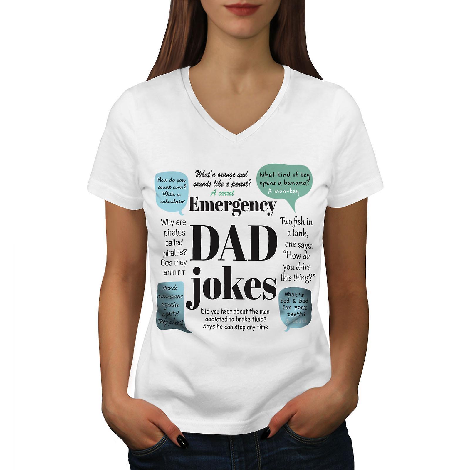 Mauvaises blagues papa calembours femmes WhiteV-Neck T-shirt | Wellcoda